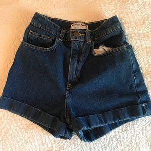 American Apparel - High Waisted Denim Shorts - 25